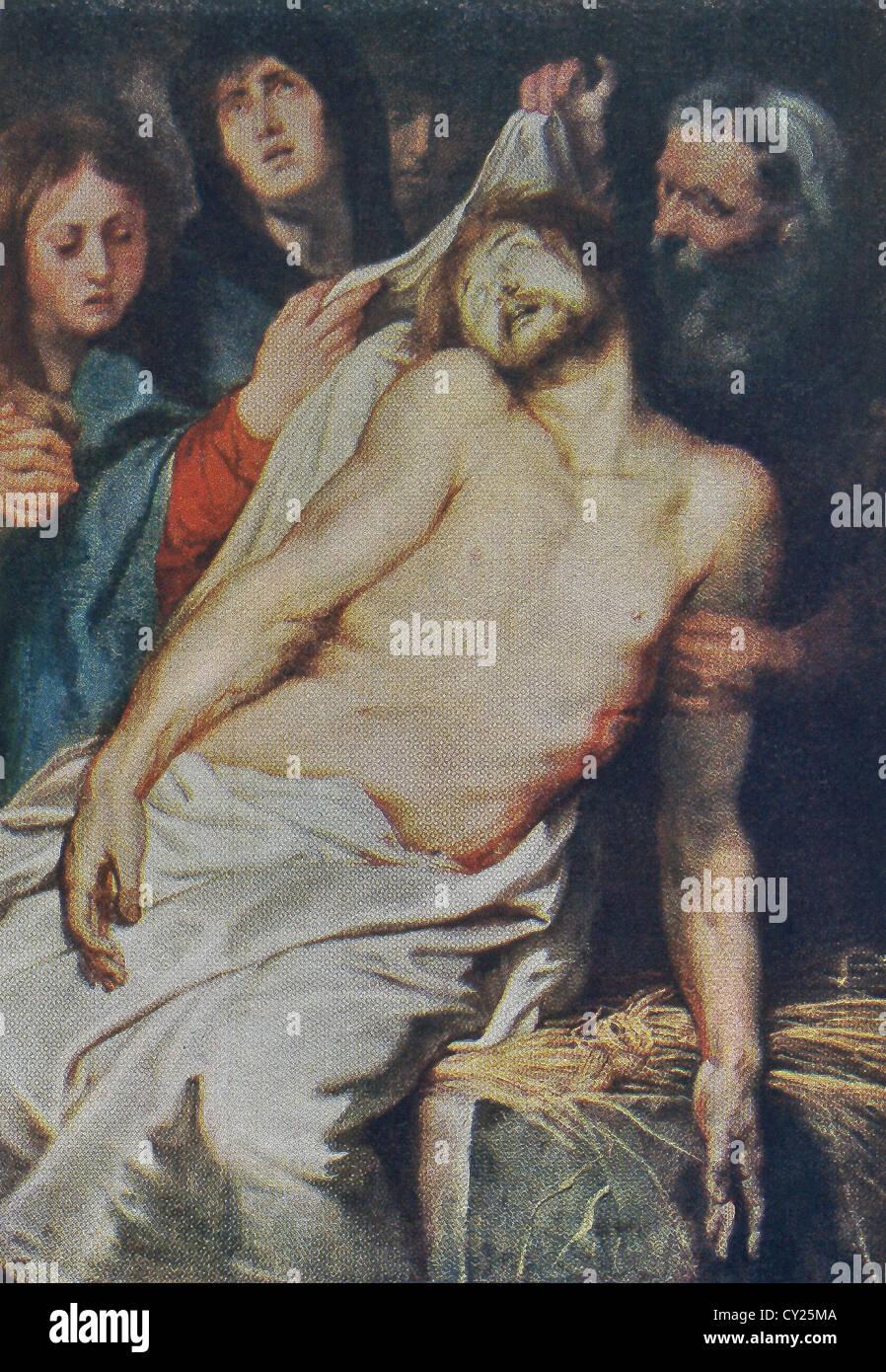 Dieses Gemälde ist der Mitteltafel eines Triptychons mit dem Titel Christus ein La Paille von Rubens für Stockbild