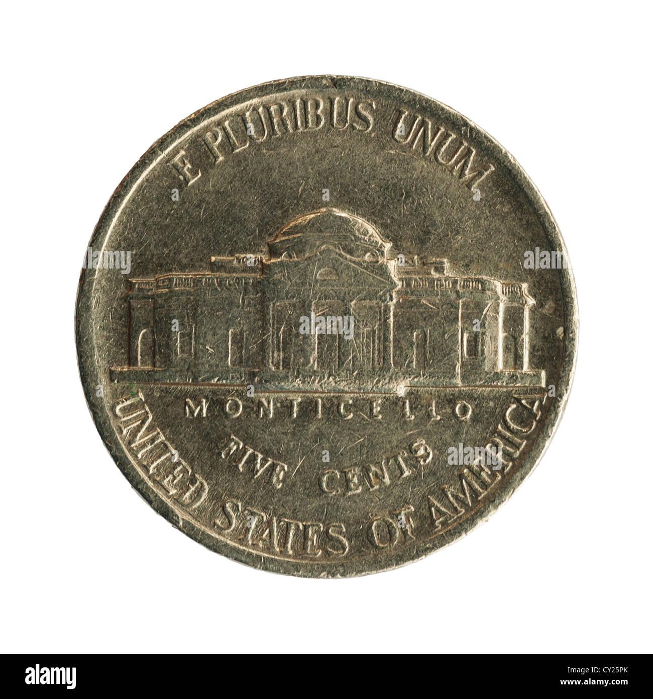 Ein Fünf Cent Münze Amerikanische Währung Auf Weißem Hintergrund