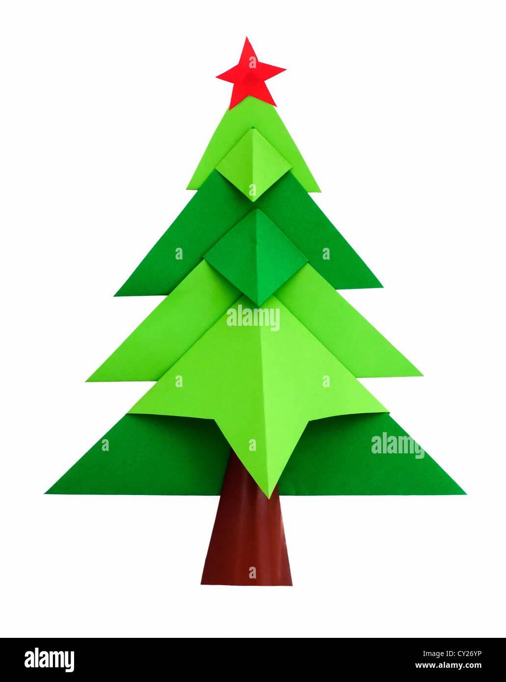 Origami Weihnachtsbaum weiß isoliert Stockbild