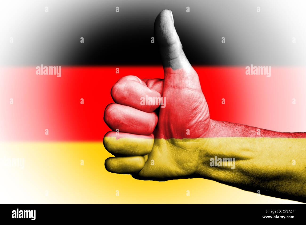 Thumbs up für Deutschland deutschen, sportliche Metapher, die wir gewinnen wollen herrschen, Vertrauensvotum Stockbild