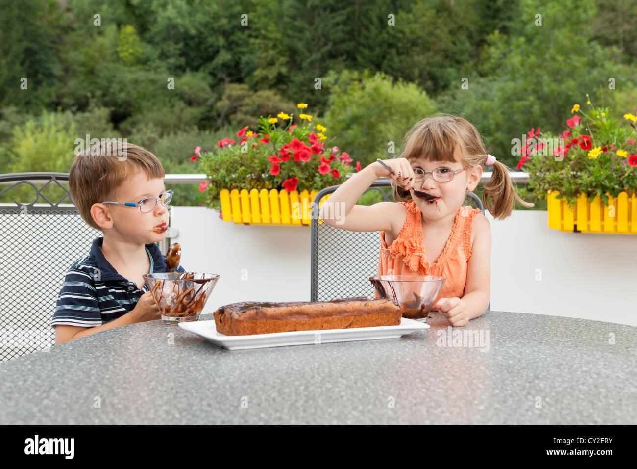 Kinder Schmucken Den Schokoladenkuchen Stockfoto Bild 51071999 Alamy