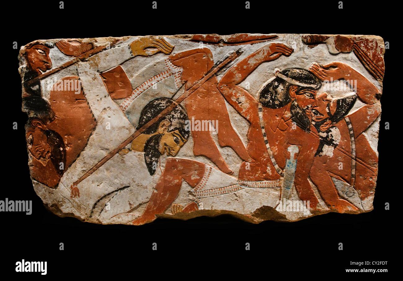 Relief-Kampfszene Krieg Soldaten Pharao Amenhotep II g Dynastie 18 1427 ? 1400 v. Chr. Kalkstein Ägypten Stockbild