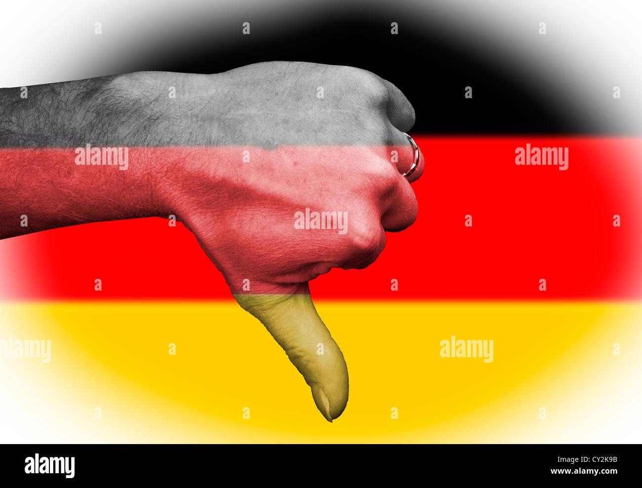 Daumen auf die deutschen Deutschland, sportliche Metapher im Rugby-Fußball alle nationalen Sport-Team und abfällige Stockbild