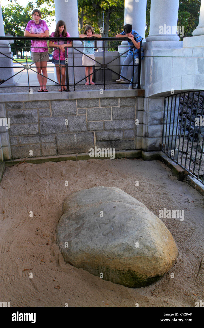 Massachusetts Plymouth Plymouth Bay Pilger Memorial State Park Plymouth Rock 1620 Landung historisches Ereignis Stockfoto
