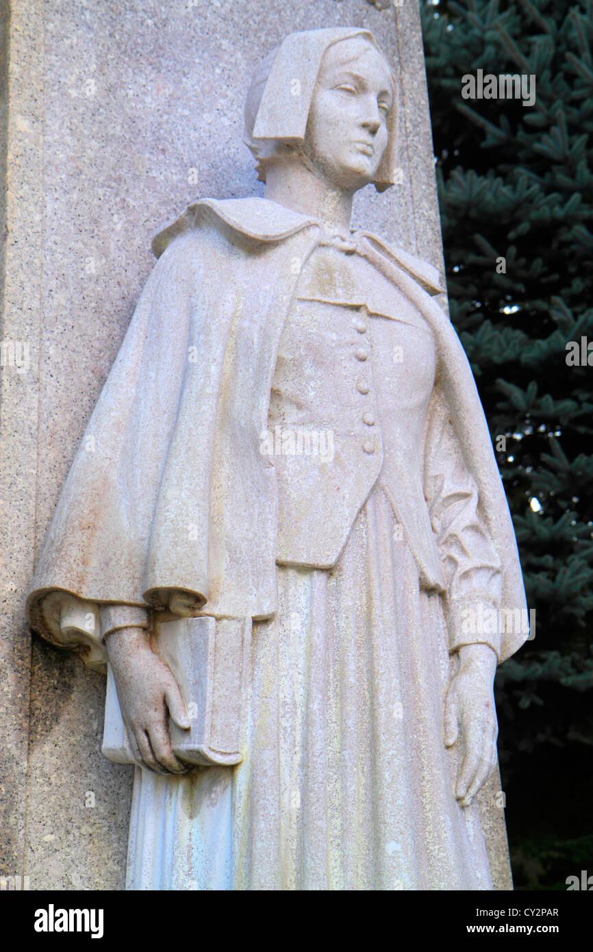 Massachusetts Plymouth Plymouth Bay Pilgrim Memorial State Park 1620 Landung historisches Ereignis statue Skulptur Stockfoto