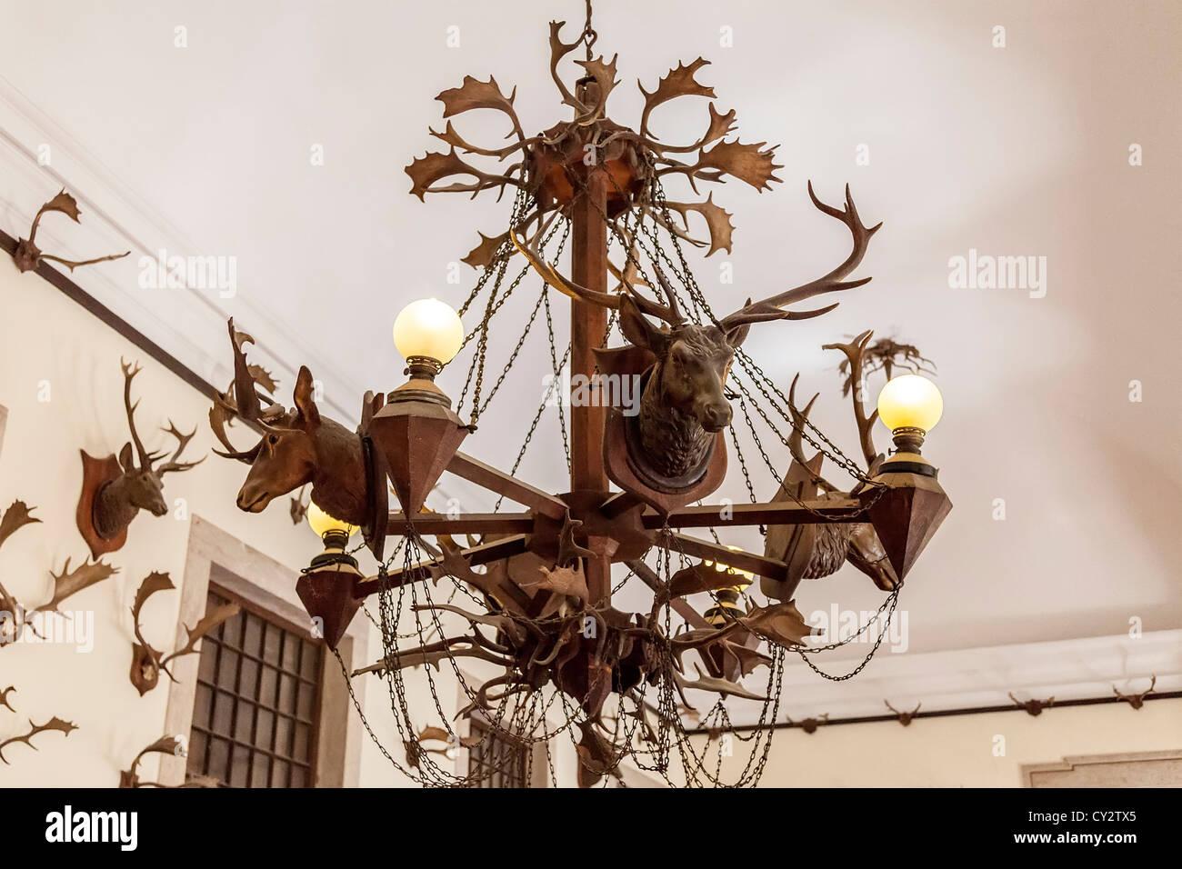 Kronleuchter Geweih ~ Kronleuchter aus geweih im jagdzimmer nationalpalast von mafra
