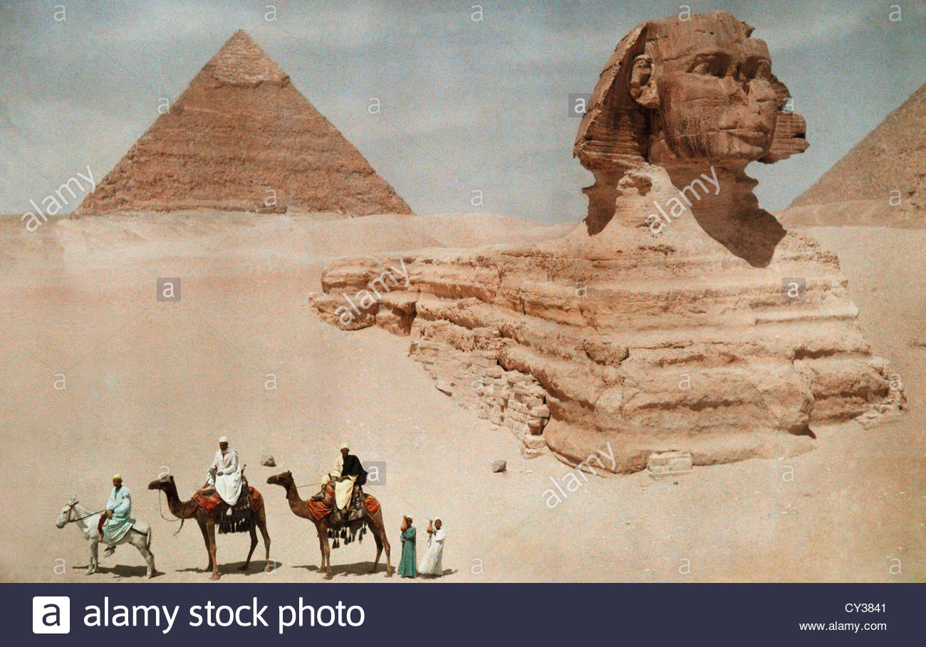 Die große Sphinx und die Sekunde oder Chephren, Pyramide. Stockfoto