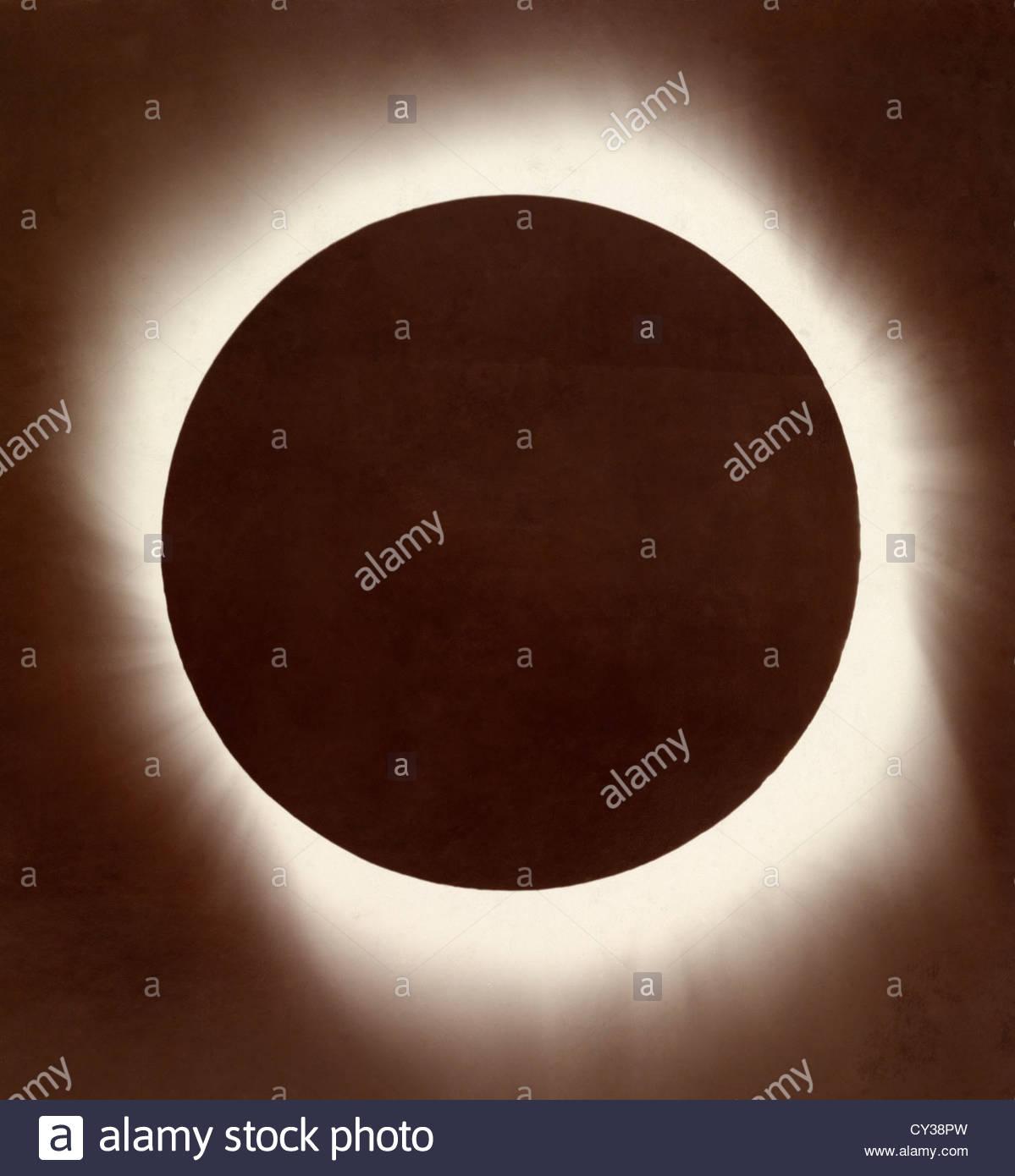 Die Korona der Sonne während einer totalen Sonnenfinsternis. Stockbild