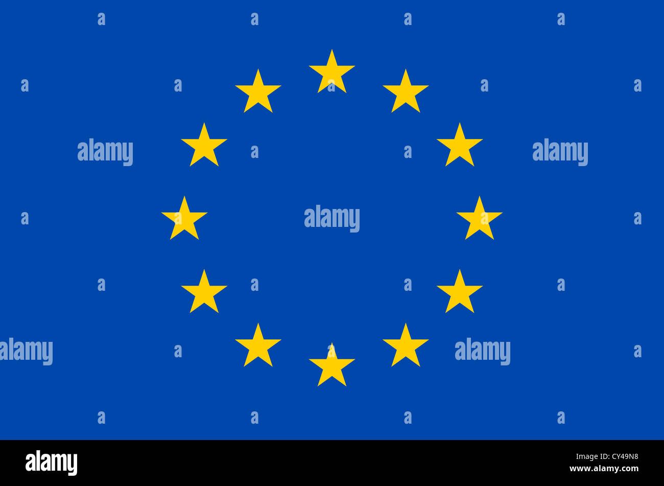 Flagge und Symbol der Europäischen Union. Stockbild
