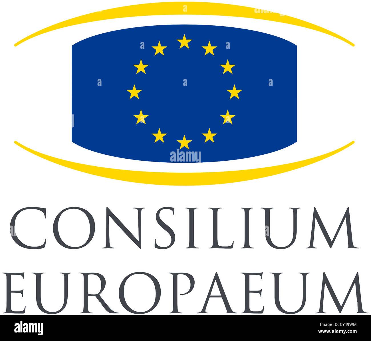 Logo des Rates der Europäischen Union mit Sitz in Brüssel. Stockbild