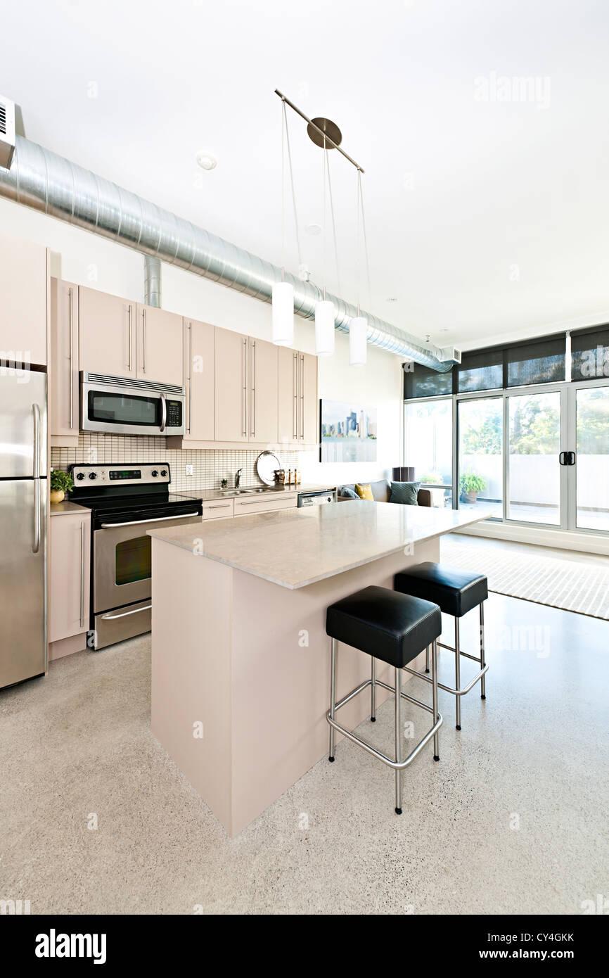 Küche und Wohnzimmer der Wohnung - Kunstwerk aus Fotograf portfolio Stockbild