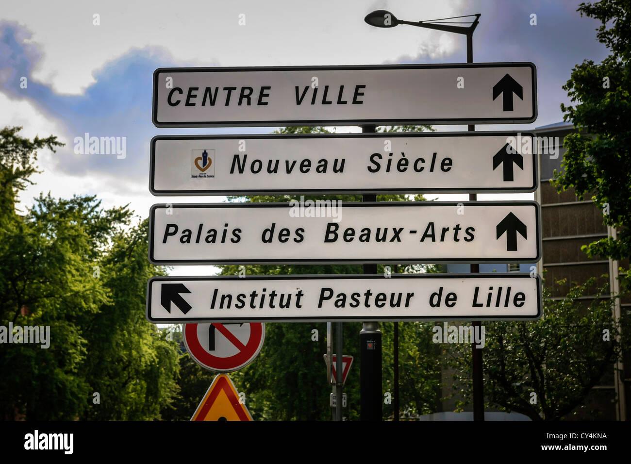 Französische Stadt Straße Wegweiser zum Institut Pasteur und Biologie in Lille Stockbild