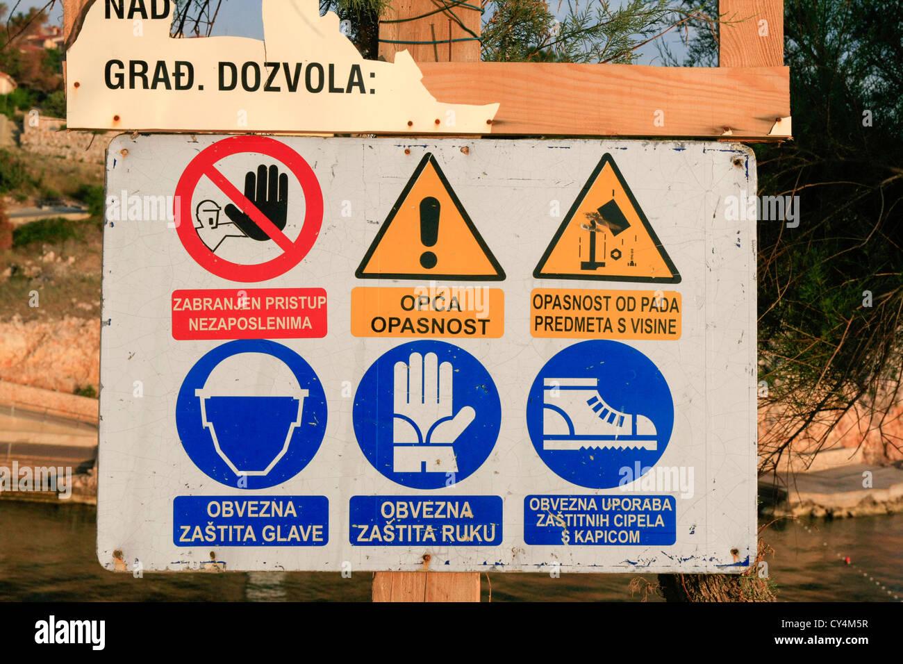 Kroatische Satz von visuellen Zeichen Stockbild