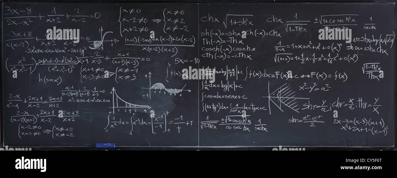 Nahaufnahme Bild der klassischen Tafel mit mathematischen text Stockbild