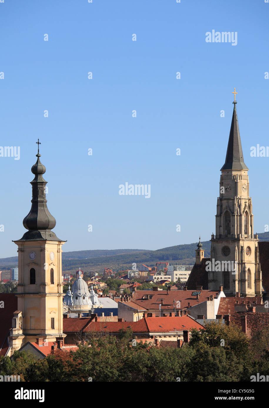 Rumänien, Cluj-Napoca, Skyline, Gesamtansicht, Stockbild