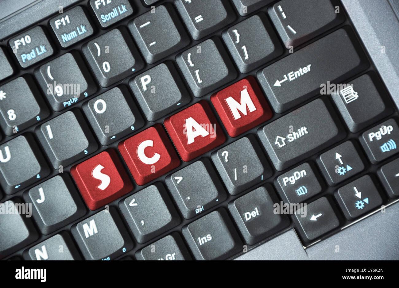 Betrug auf Tastatur Stockbild