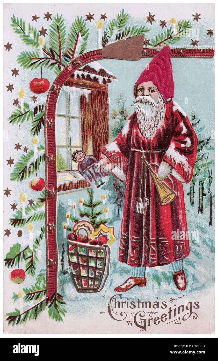 Alt altmodisch Santa Claus, vor dem Haus Stockbild