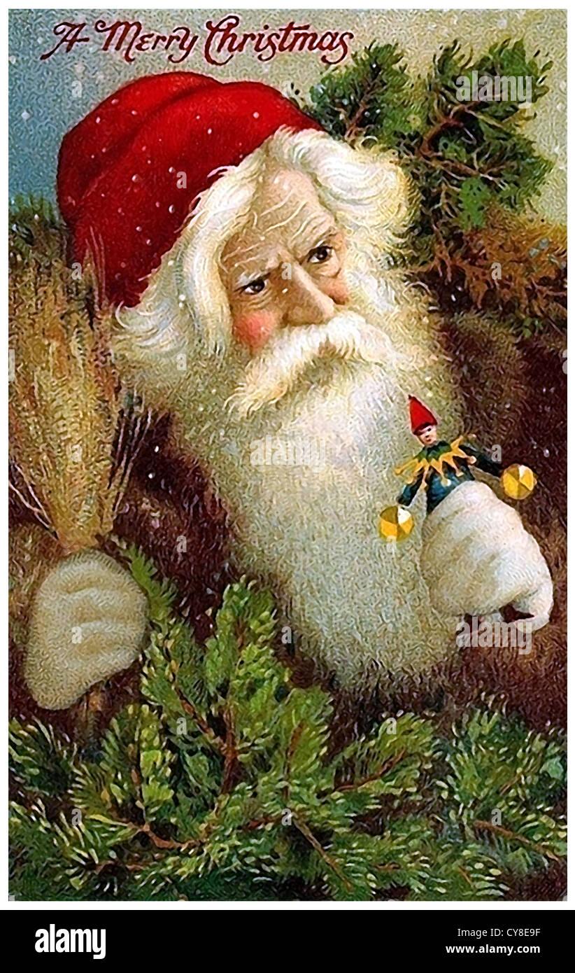 Santa Claus mit Puppen Stockbild