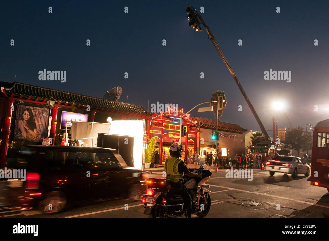 Ein Film-set in voller Produktion in Los Angeles Chinatown. Stockbild