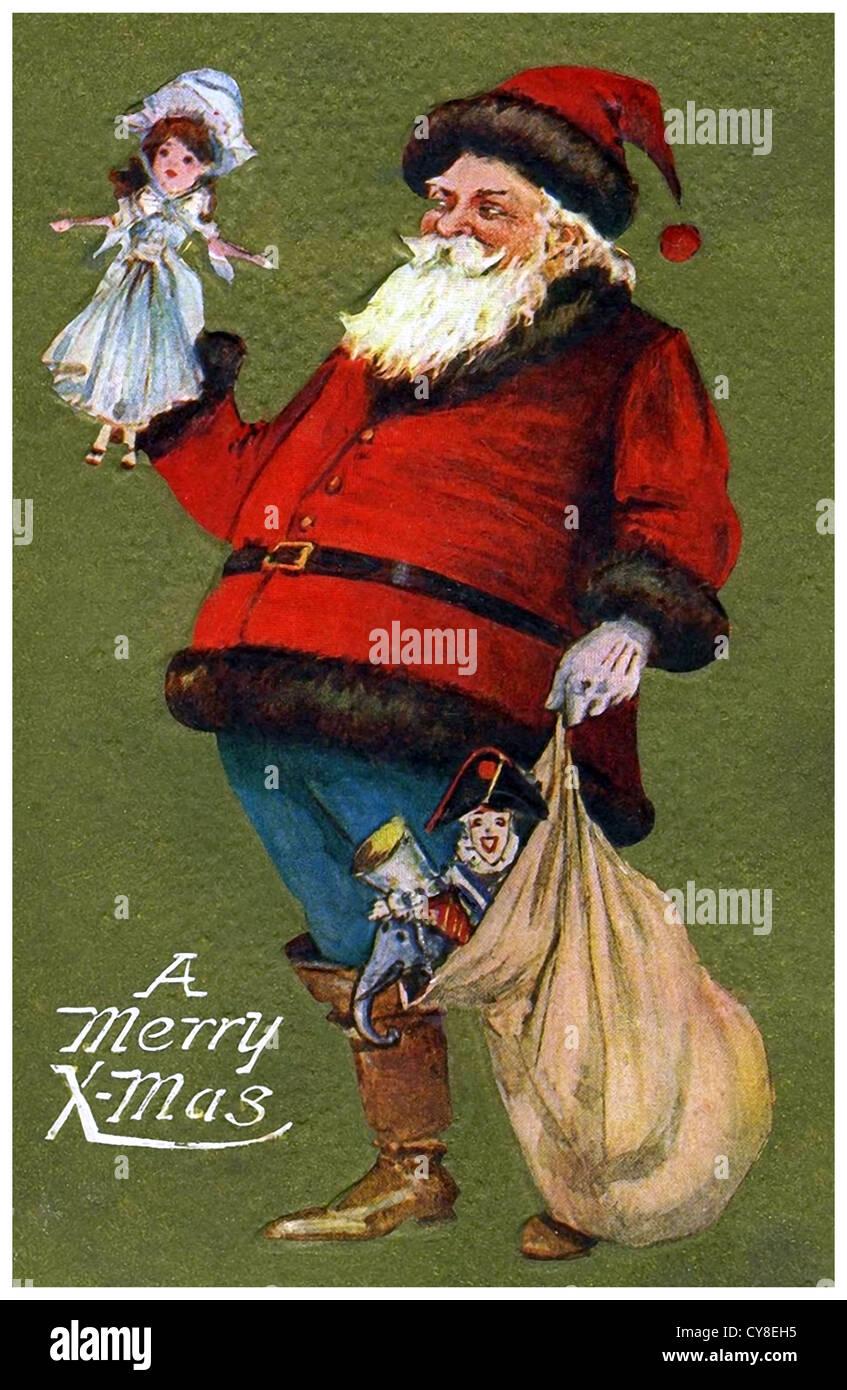 Santa Claus mit Puppe Stockbild