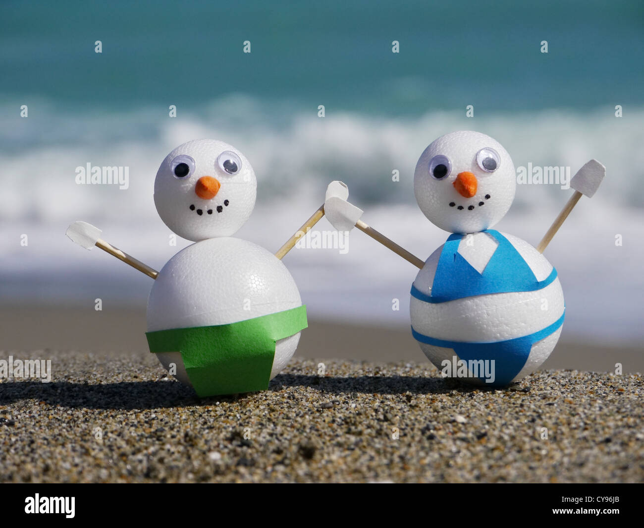 Schneemann Strand Urlaub Ferien vom kalten winter Stockbild