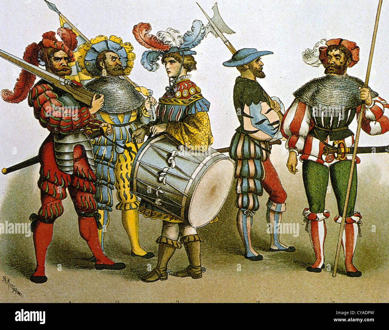 DEUTSCHE Soldaten in Uniformen der Parade in der Mitte des 16. Jahrhunderts Stockbild