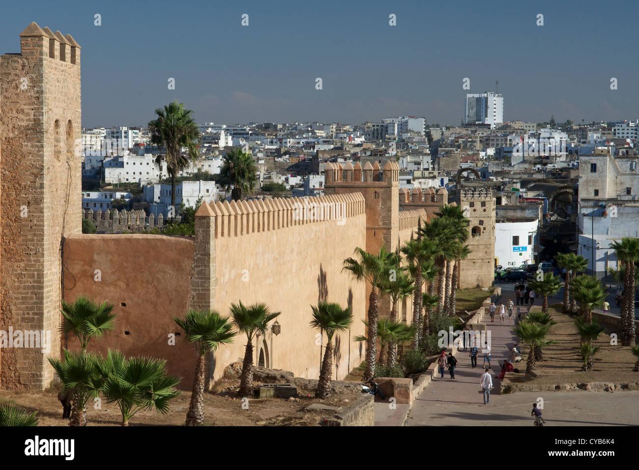 Alten Mauern der Kasbah des Oudaia, Rabat, Marokko Stockbild