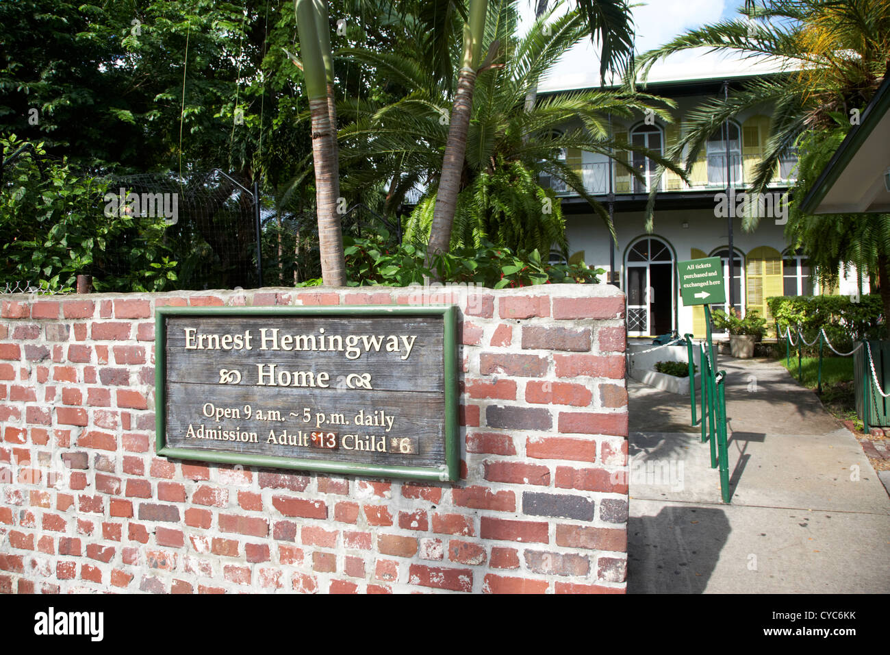 Eingang nach Ernest Hemingways Haus Key West Florida usa Stockbild