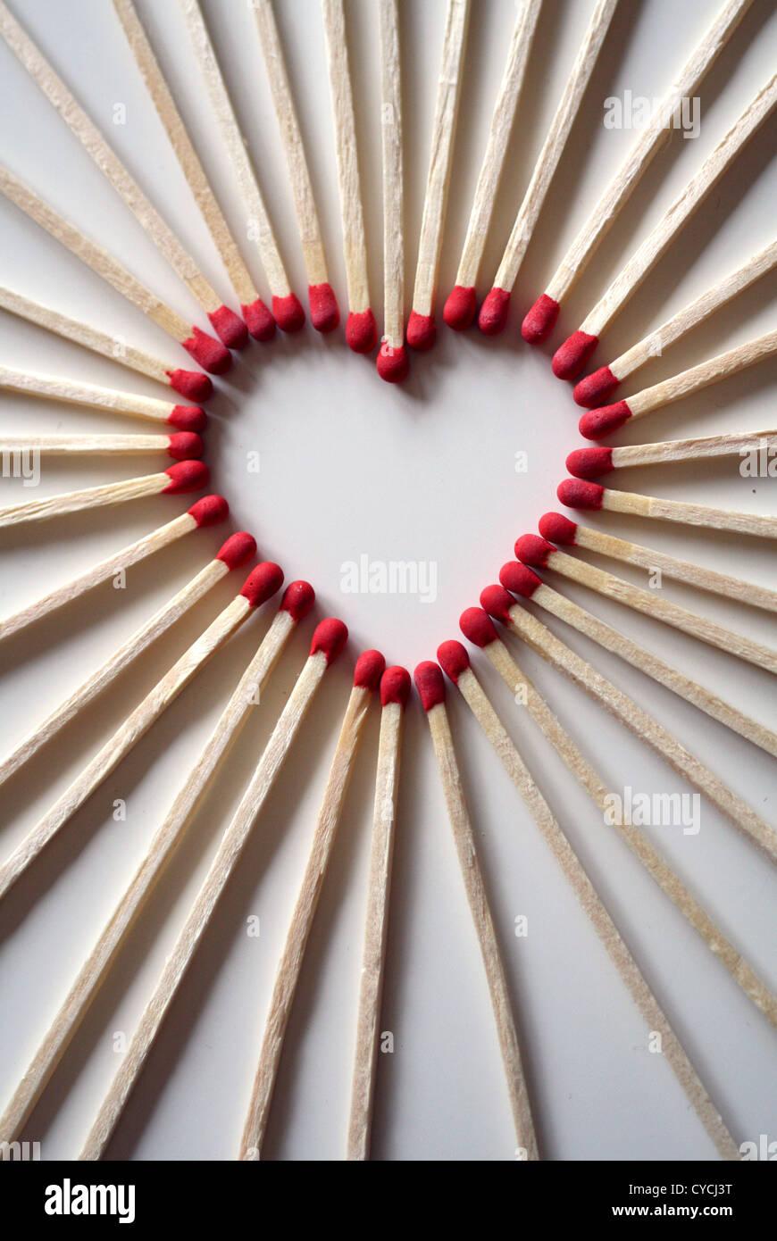 Herzen, herzförmig, Streichholz Stockbild