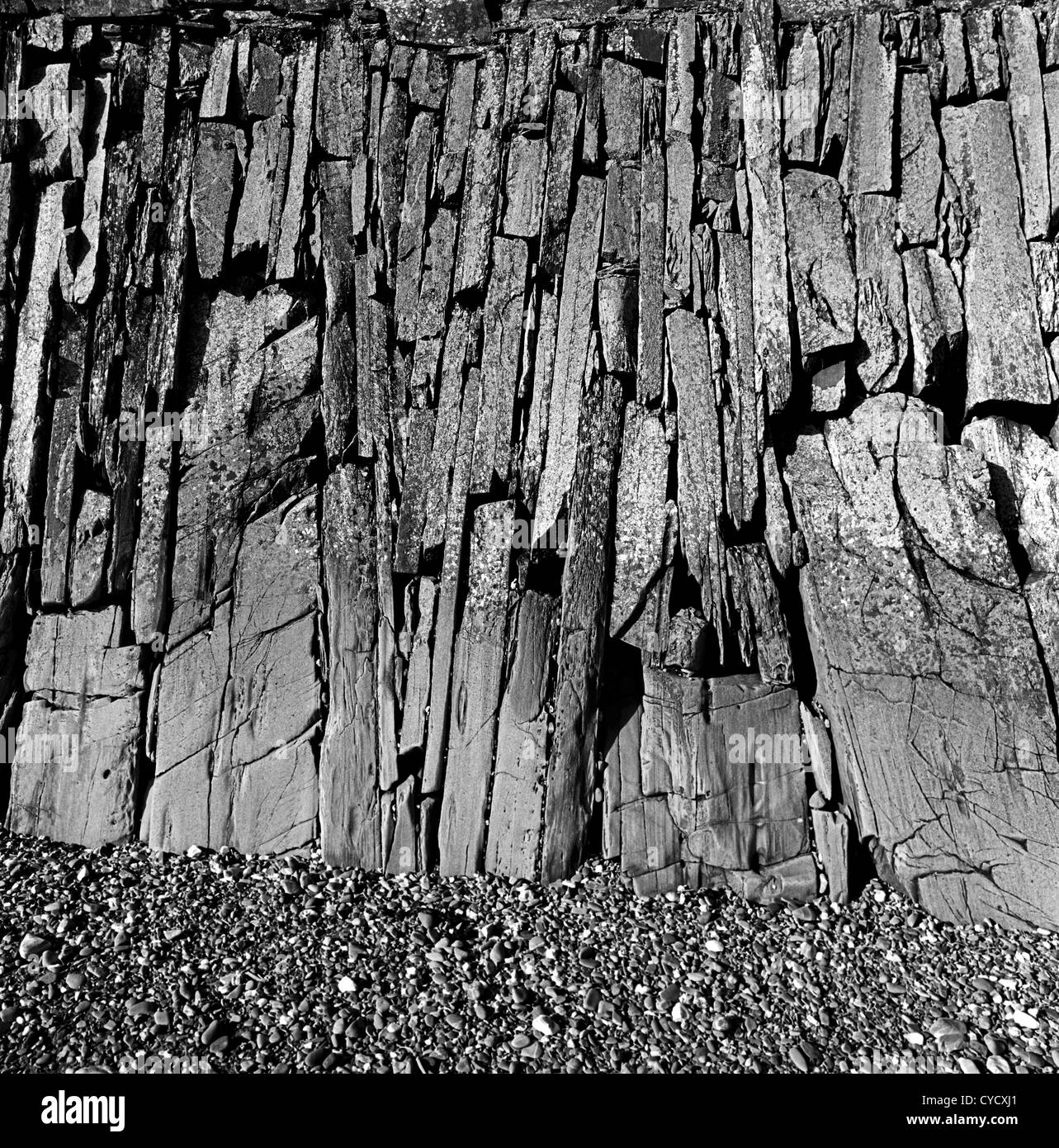 Traditionelle Stein Ufermauer, Co Down, Nordirland Stockbild