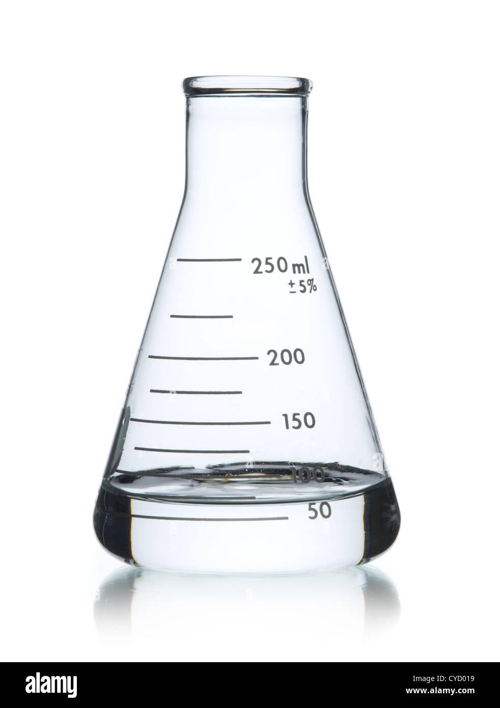 Glas Erlenmeyerkolben, 250 ml Stockbild