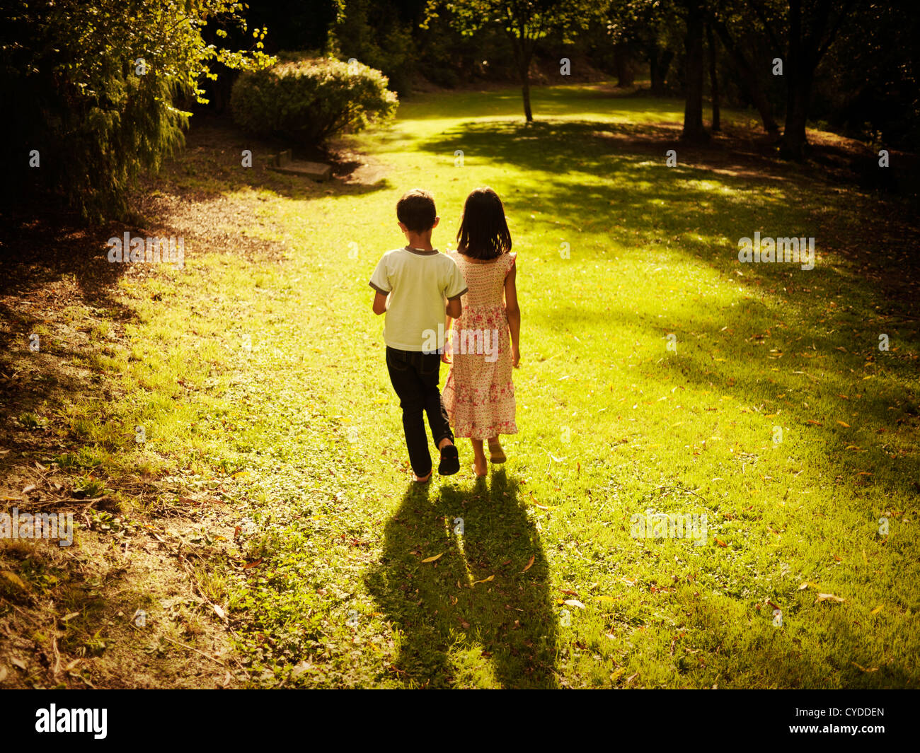 Goldene Stunde: jungen und Mädchen Sommer Spaziergang am Nachmittag im Wald Stockbild