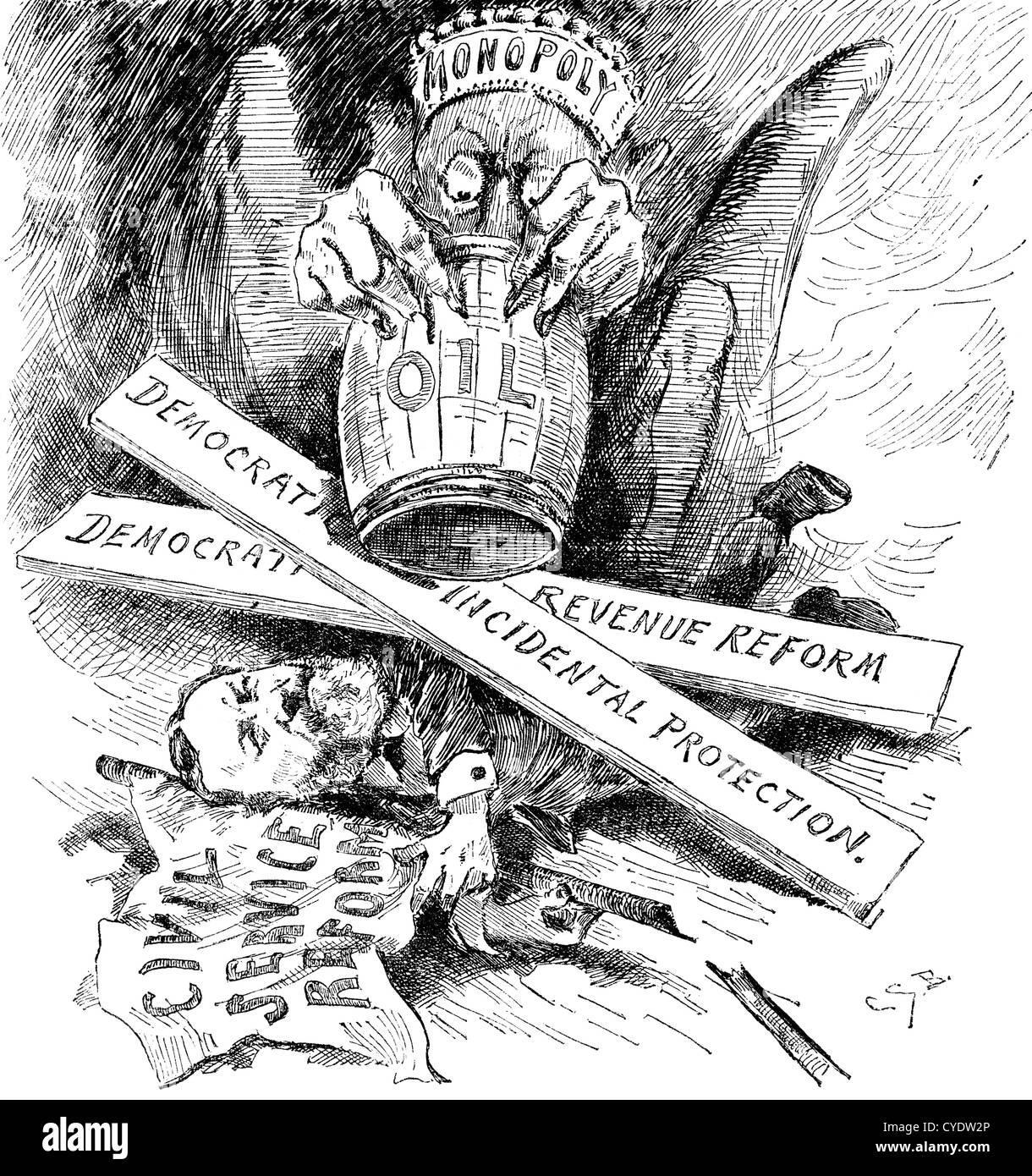 Standard Oil Monopol dragon Zerkleinerung der Reform des öffentlichen Dienstes, Cartoon, 1880. Holzschnitt Stockbild