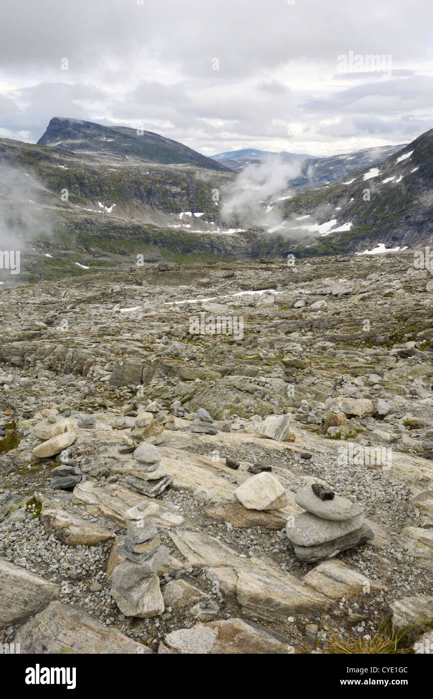 Blick vom Dalsnibba Mountain Aussichtspunkt in der Nähe von Geiranger, mehr Og Romsdal, Norwegen Stockbild