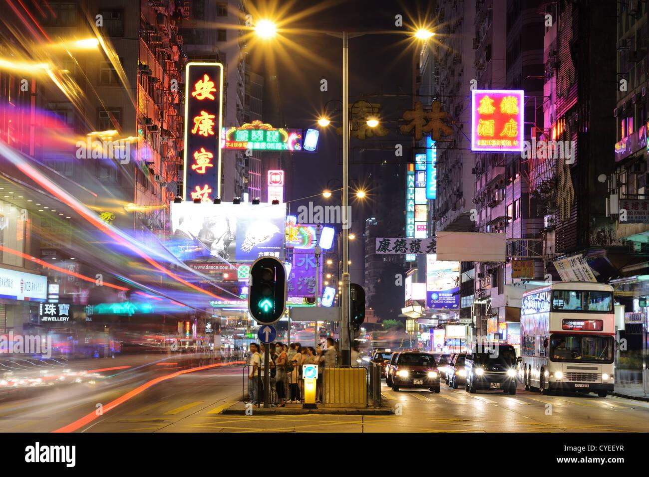 Nathan Road in Hong Kong, China. Stockfoto