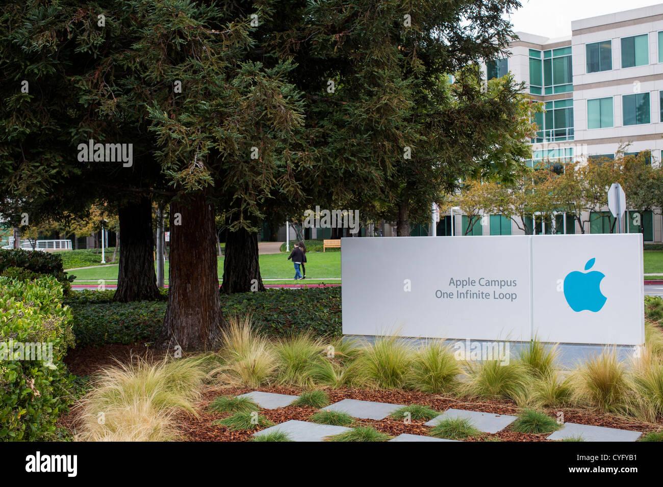 Der Hauptsitz von Apple Computer, 1 Infinite Loop. Stockbild
