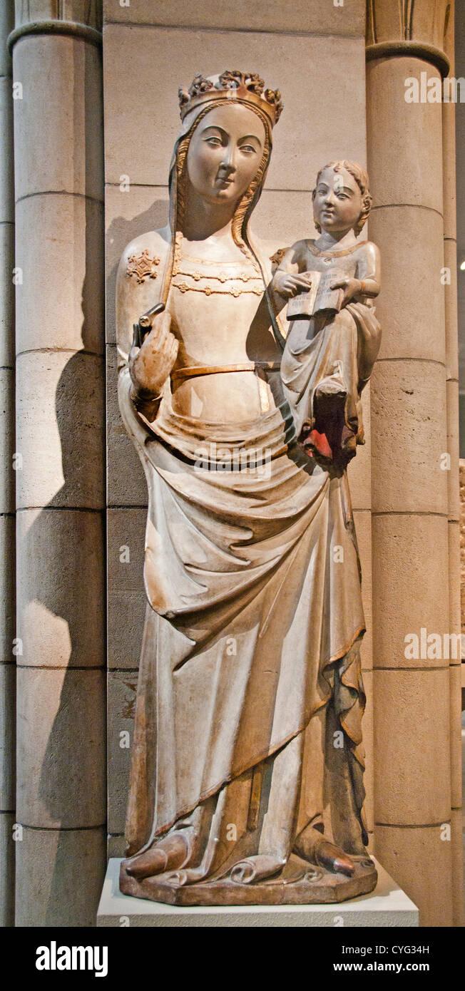 Jungfrau und Kind Guillem Segeur 14. Katalonien Spanien katalanische Limestone133 cm-Spanisch Stockbild