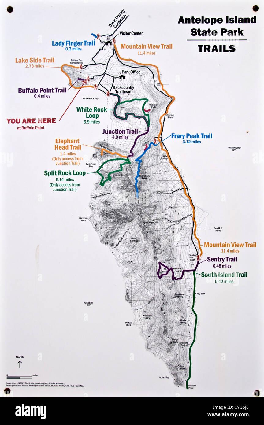 Karte von Antelope Island State Park - Utah, USA Stockfoto ...