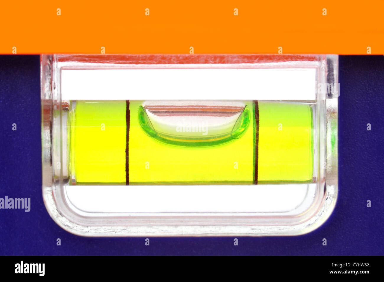Blase genau in der Mitte einer Ebene Werkzeug Stockbild