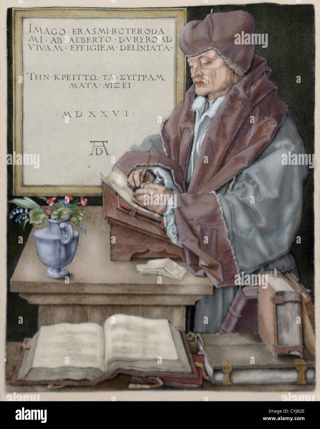 Erasmus von Rotterdam (1466-1536). Niederländischer Humanist. Stichel, die Kupferstich von Albrecht Dürer Stockbild