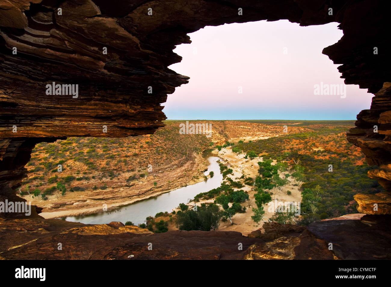 Blick durch Fenster Naturen in Murchison River Valley. Stockbild