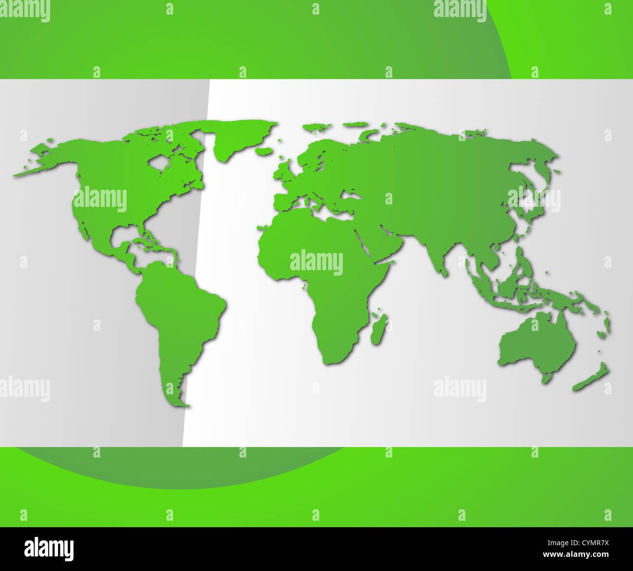 globale Technologie-Konzept mit Weltkarte und Exemplar Stockbild