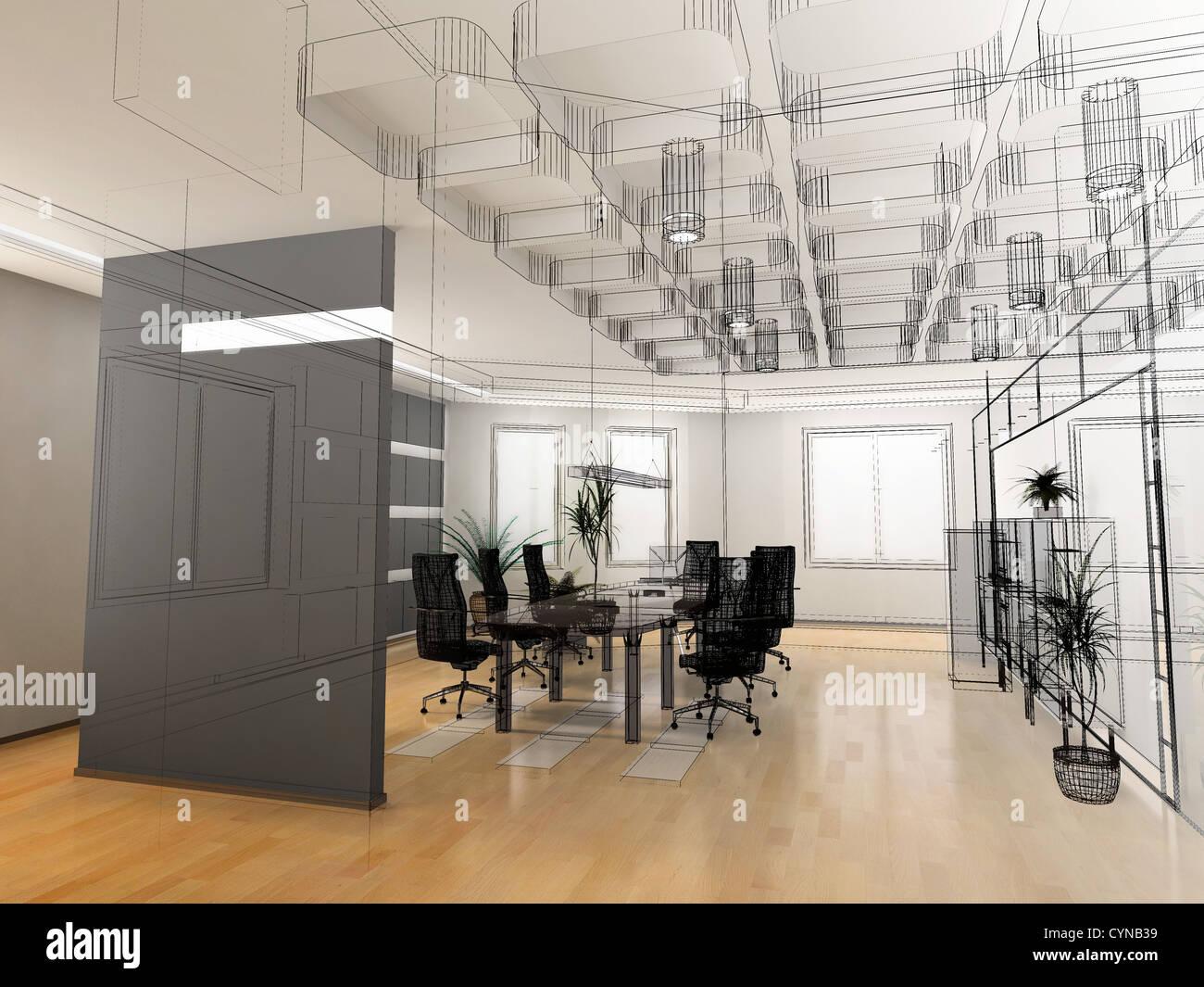 die Innenarchitektur des modernen Büros skizzieren (3d Render ...
