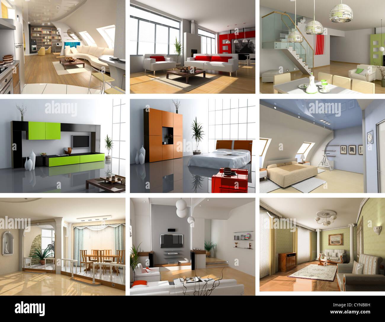 modernes Interieur Bilder design Set (computergenerierte Bild 3D) Stockbild