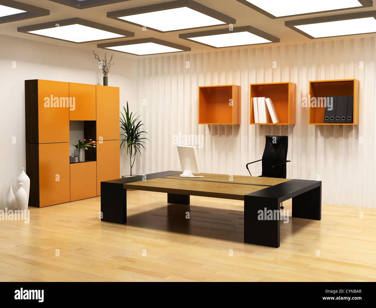 moderne Innenarchitektur des Kabinetts Bossraum (3D Render Stockfoto ...