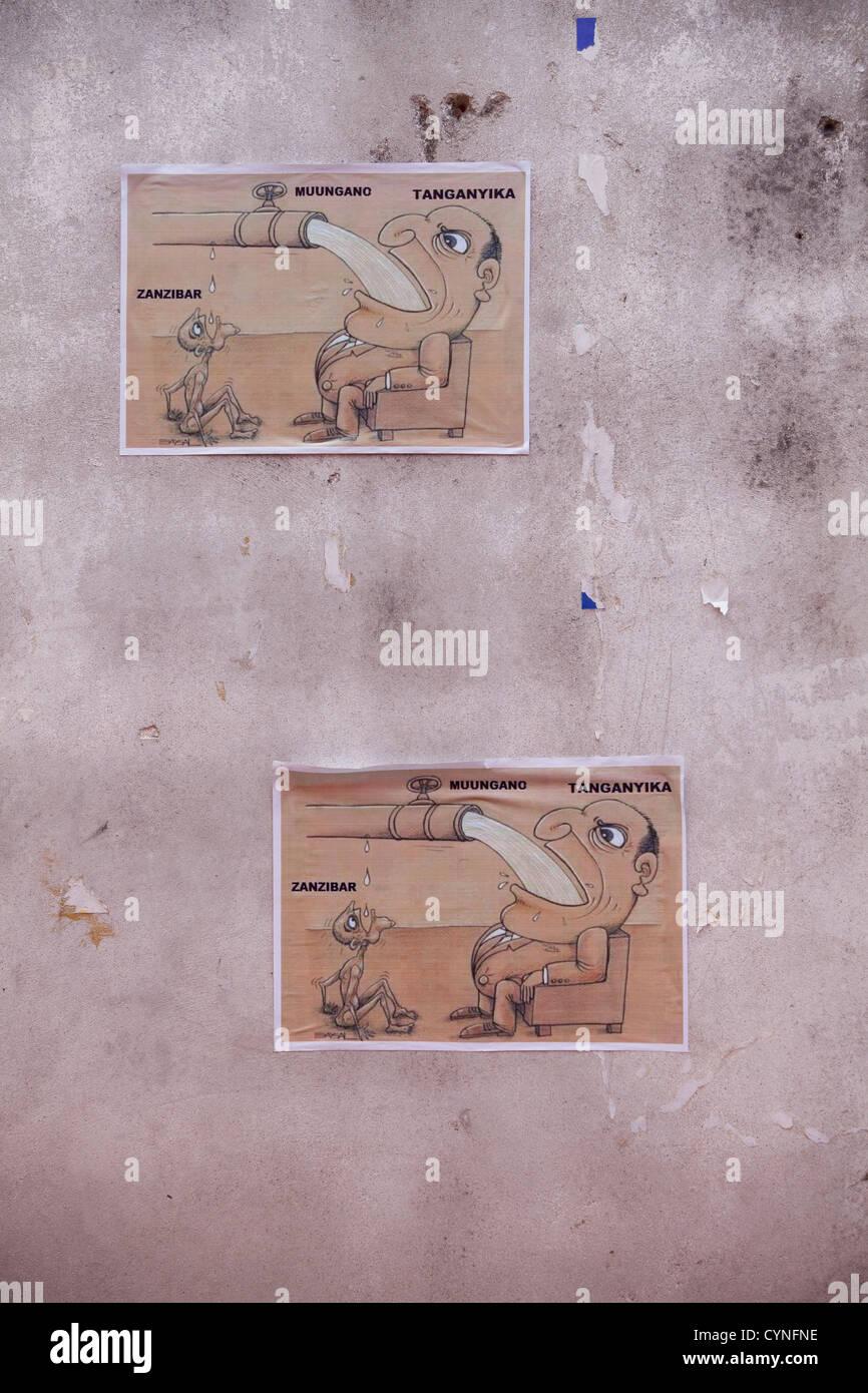 Plakate in Sansibar, die Unterstützung der Unabhängigkeit vom Festland Tansania, Stone Town, Sansibar, Stockbild
