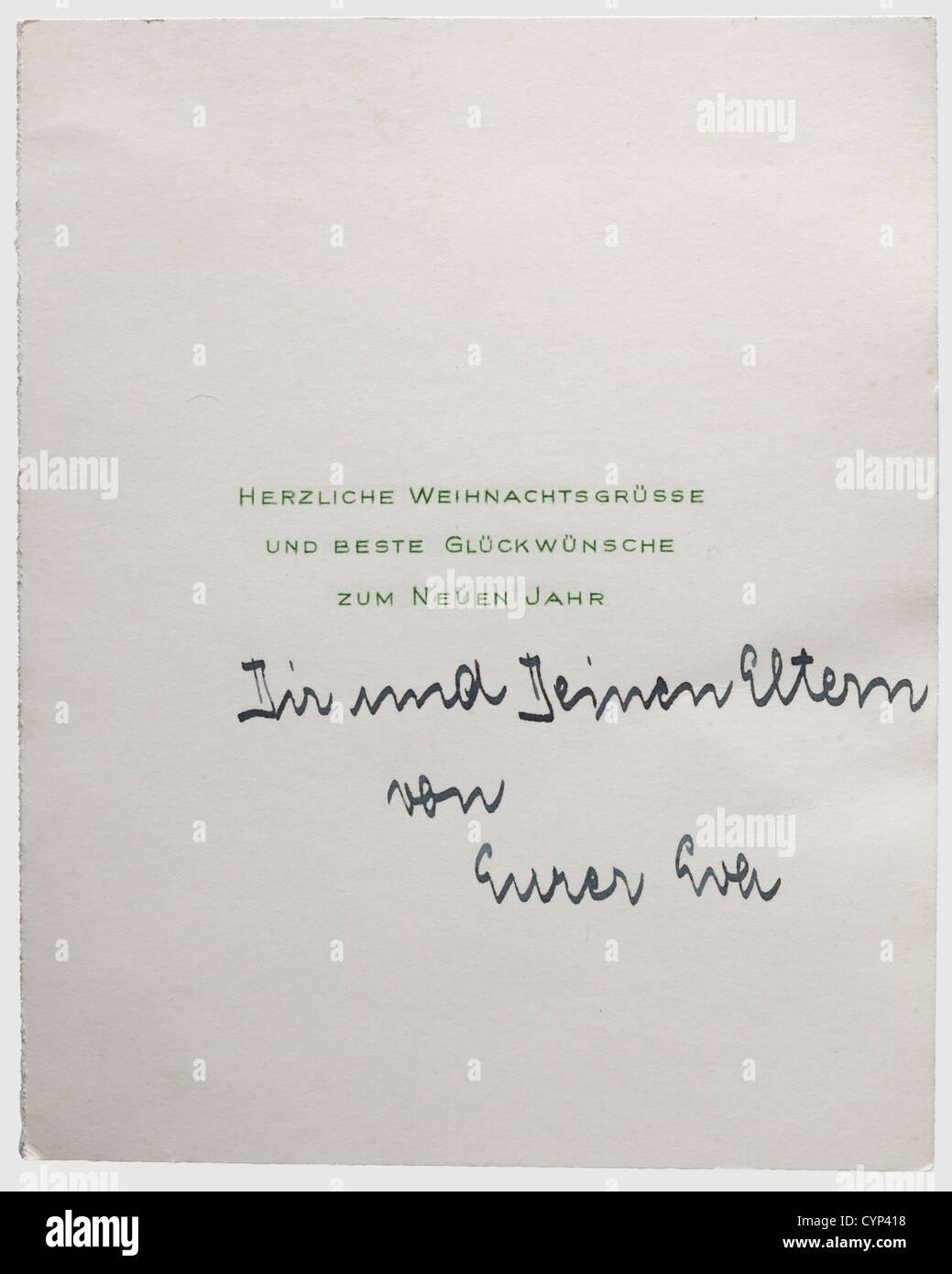 Weihnachtsgrüße An Eltern.Eva Braun Eine Signierte Weihnachtskarte Bedruckt Mit
