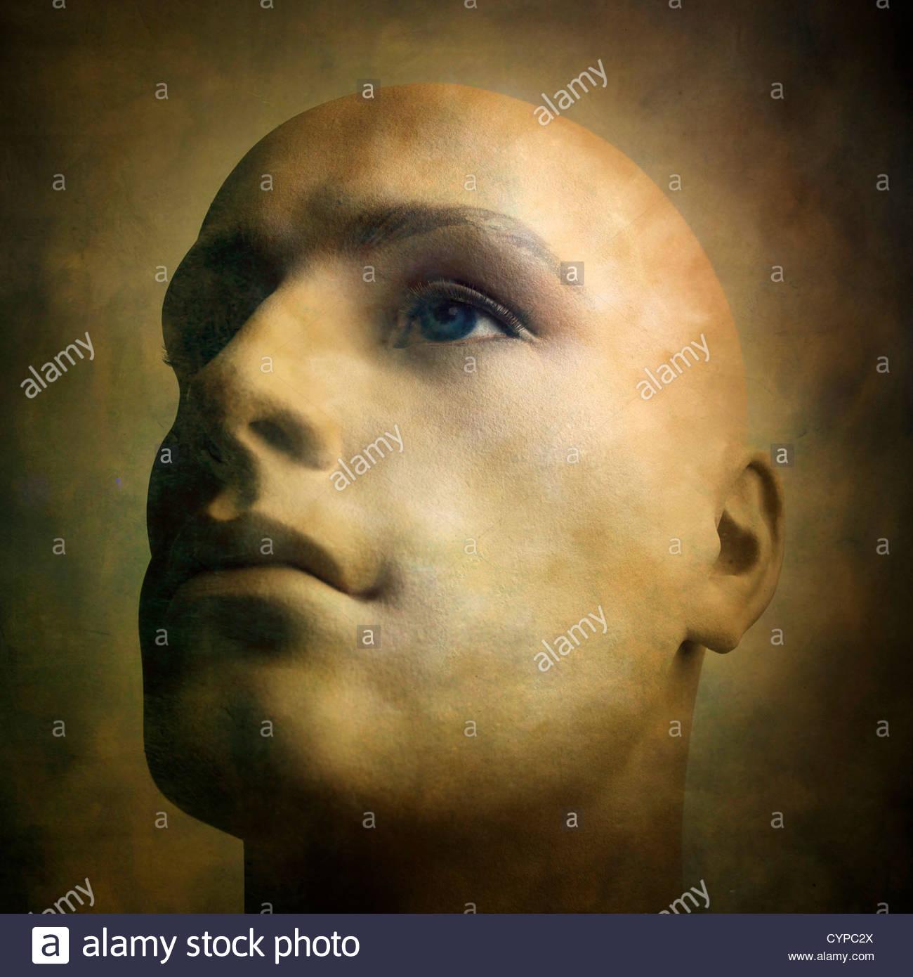 Männliche Schaufensterpuppe Gesicht Stockbild