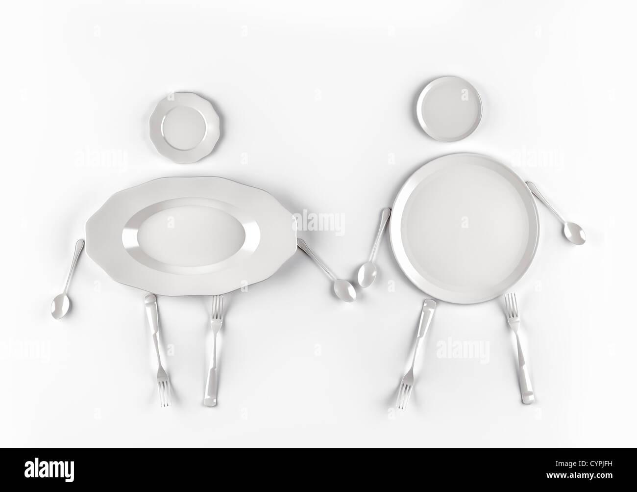 Figuren von Männern und Frauen, stilisierte von Gerichten auf weißem Hintergrund Stockbild
