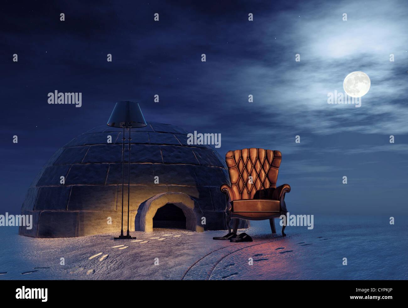 Luxus Sessel in Winterlandschaft und Iglu (3d-Konzept) Stockbild